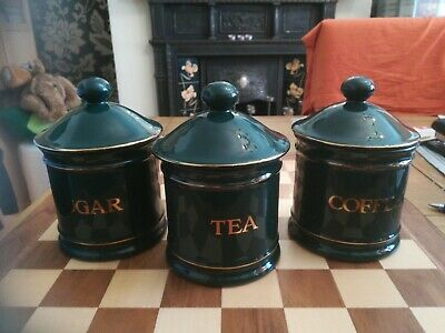 Vintage Hornsea Pottery Regency Green Canister Storage Jar Set Tea Coffee Sugar