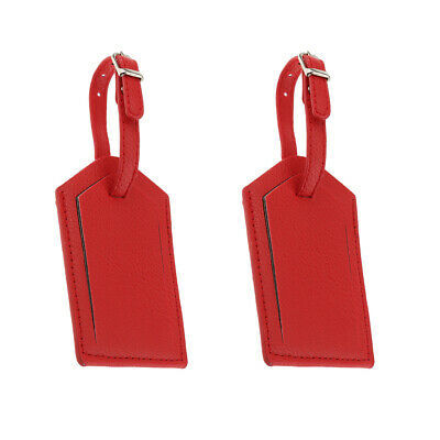 2PACK Red Leather Luggage Tag Bag Tag Travel Suitcase Tag Name Card Holder