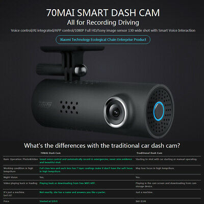 70mai Xiaomi Dash Cam Pro 1080P Smart Car DVR Camera 130° Driving Recorder L1D2