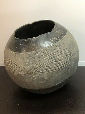Antique Primitive Palestinian Hand Made Holy Land Decorated Pottery Pot Bowl