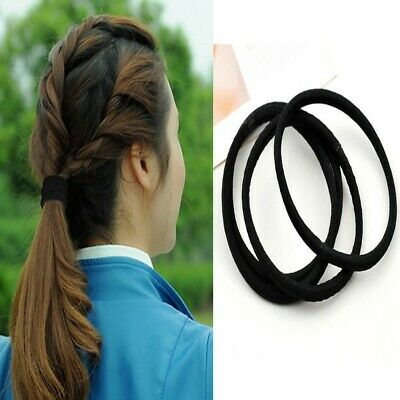 10Pcs Black Rope Elastic Hair Ties 4mm Thick Hairbands Girl's Hair Bands