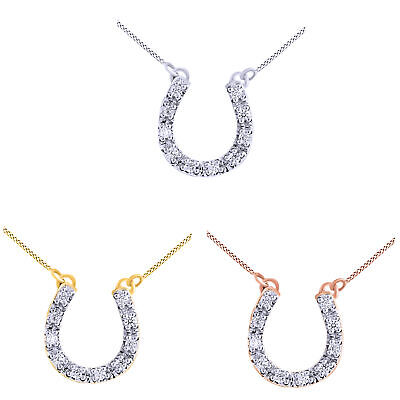 Cubic Zirconia Horseshoe Pendant 14k White Gold Over 925 Sterling Silver