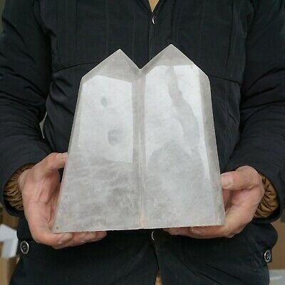 """17.73LB 9.1"""" Natural Clear White Quartz Crystal Point Tower Twins Healing"""