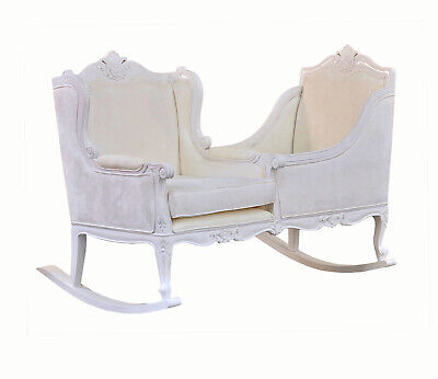 Babeek 'The Rose' Unique DoubleRocking Nursing Chair & Crib - White Suede