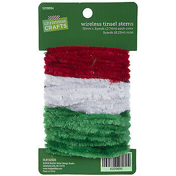 Red, Green & White Wireless Chenille & Tinsel Stems
