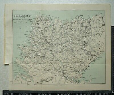 1892 Vintage Bartholomew Map of Sutherland, parts of Ross & Caithness, Scotland