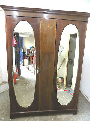 edwardian,inlaid,double,wardrobe,oval,mirrored doors,breakdown,antique,mahogany