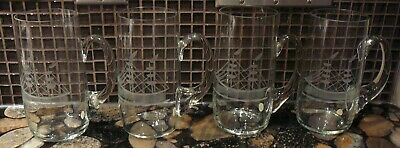 4 Hand Crafted Crystal Beer Steins Tankards etched Ship Design New Old Stock