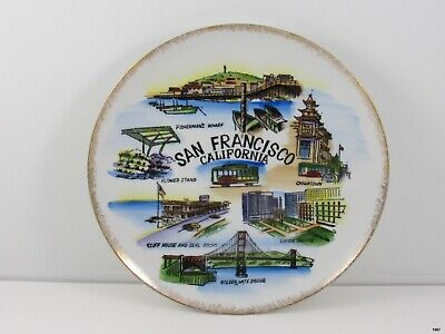 Vintage Hand Painted SAN FRANCISCO Souvenir Collector Plate : California
