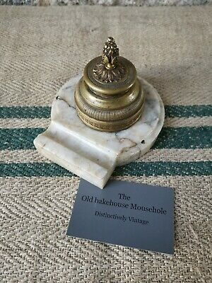 A French 19th century Bronze And Marble Inkwell