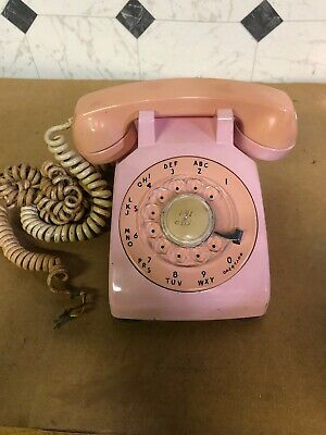 1960 Pink Western Electric Bell System 500 Rotary Desk Telephone Small Crack