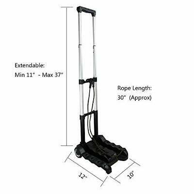 Portable Folding Dolly Luggage Cart Hand Truck Collapsible Travel Moving Black .