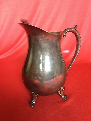 Vintage W&S Blackinton SilverPlate Ice Lip Edge Water Pitcher Footed