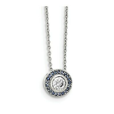 Sterling Silver 18in Glass Blue Glass/CZ Round/Halo Necklace