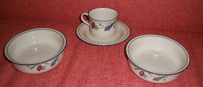 Lenox Chinastone Poppies On Blue Pattern Teacup & Saucer And 2 Cereal Bowls