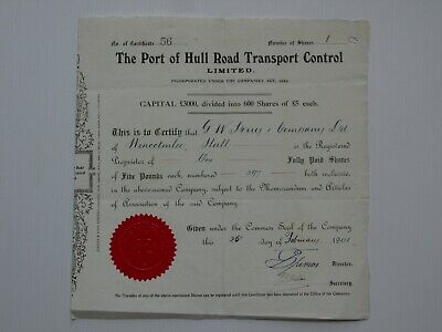 share certificate - 1941 Port of Hull Road Transport Control