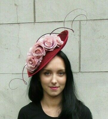 Large Blush Light Nude Pink Burgundy Wine Red Flower Fascinator Hat Hair 7262