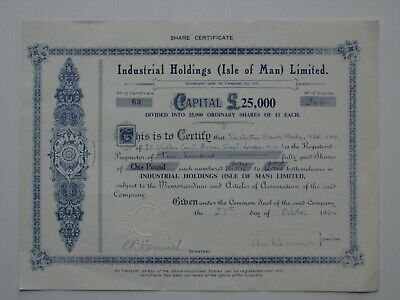 share certificate - 1964 Industrial Holdings Isle of Man Ltd