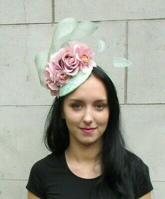 Mint Green Blush Nude Light Pink Rose Flower Feather Hat Fascinator Races 7263
