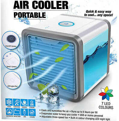 Air Cooler Humidifier Purifier Colour Changing Led Fan Usb Gift Portable Bnew