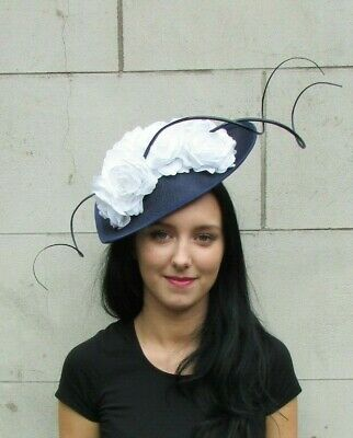 Large Navy Blue White Teardrop Rose Floral Flower Fascinator Hat Hair Races 7267