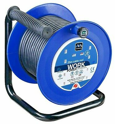 Electric Extension Cable Reel 4 Sockets 25m Heavy Duty Core Lead Safety Cat Off