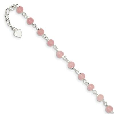 Sterling Silver 9in Pink Bead with Heart Anklet. Metal Wt-4.95g
