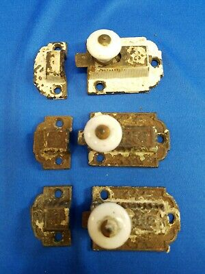 Lot of 3 Antique Ornate Cast Iron Cabinet Cupboard Latches Victorian Eastlake