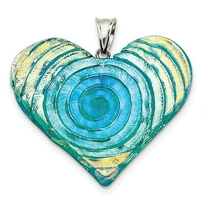 """Sterling Silver Yellow, Blue, Green Dichroic Glass Heart Pendant"""" (1.7INx1.8IN)"""