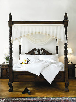UK STOCK 6'  Super King four poster mahogany wooden Queen Anne style canopy bed