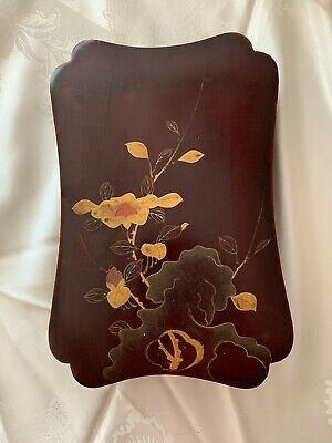 Antique Vintage Asian hand made Gold Floral Painted wood box