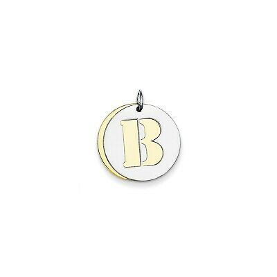 Sterling Silver GP Initial B Double Plate Round Charm (0.8in)