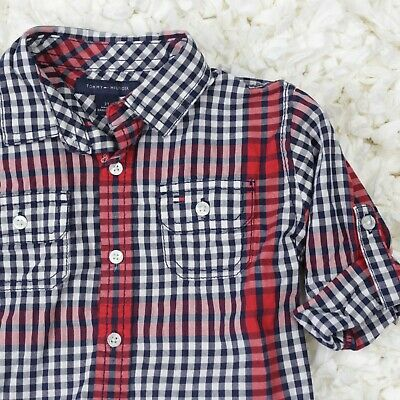 Tommy Hilfiger Boys 2T Shirt Plaid Button Down Top Roll Tab 3/4 Sleeves Toddler