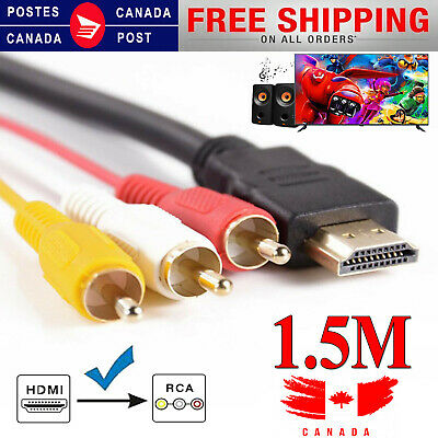 HDMI M Male to 3 RCA Video Audio Converter Component AV Adapter Cable DVD To TV