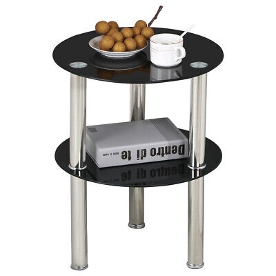 2 Tier Side End Table Glass&Chrome Finish Modern Design Living Room Coffee Table