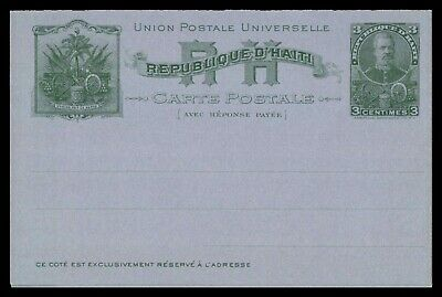 Mayfairstamps Haiti 1900s 3 Cent Green Mint Postal Stationery Reply Card wwb1082