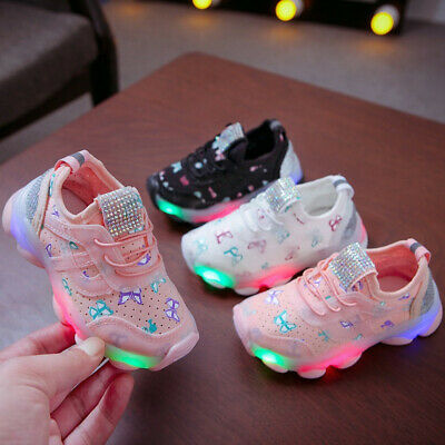 Kid Baby Light Up LED Trainers Sneakers Running Flashing Shoes with Elastic Band