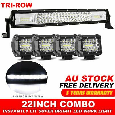 22inch Cree LED Light Bar Spot Flood Driving Offroad +4inch Work Pods Truck 4WD