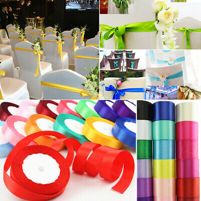 25Yards Satin Ribbon Bow DIY Craft 1/2/4/5/8cm Wide Wedding Party Decor Supplies