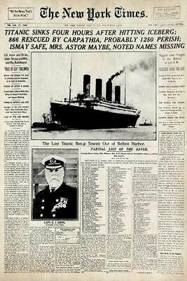 Historical The New York Times Newspaper Titanic Poster
