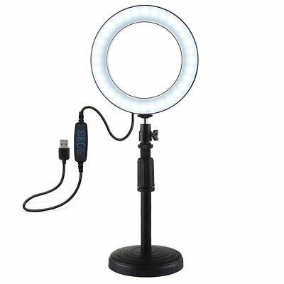 Round Base Desktop Mount + 6.2 Inch Usb Dimmable Led Ring Vlogging Video Light#