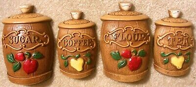 Vintage 1960s Sexton Cast Metal CANISTERS 4x Wall Plaques Coffee Tea Flour Sugar
