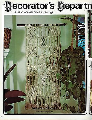 Vintage Patchwork Wall Hanging Art Decor Pattern in 1976 Macrame Boutique Book