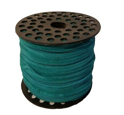 "Genuine Suede Leather Lace Jewelry Cord 1/8"" 3mm x 100 yds Large Spool Turquoise"