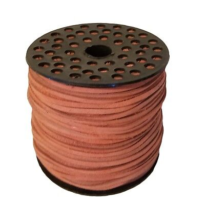 "Genuine Suede Leather Lace Jewelry Cord 1/8"" 3mm x 100 yds Large Spool Pink"
