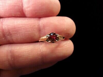 Beautiful Old Vtg Antique 10K Rose Gold Victorian? Ring, Dark Pink Tourmaline?