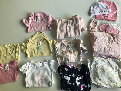 Bundle of 14 Baby Girls Items Size 0000 Zippy Suits, Bassinet Sheets etc Newborn