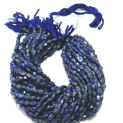 Natural Lapis Lazuli Oval Faceted Beads 13 Inch Strand Loose Gemstone Beads