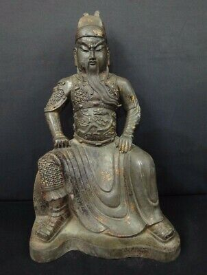 """Large Rare Old Chinese Bronze """"GuanGong"""" Statue China God Sculpture"""