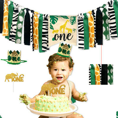 Jungle Themed Decoration Banner Crown Party Supplies for Baby 1st Birthday